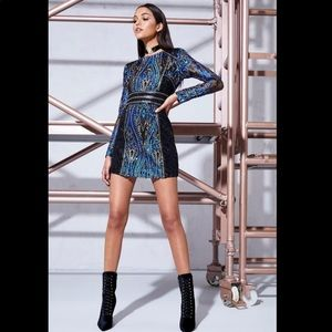 Boohoo Premium blue Long sleeve Sequin Dress small
